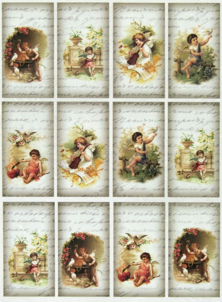 rice paper for decoupage decopatch scrapbook craft sheet vintage little angels decopage. Black Bedroom Furniture Sets. Home Design Ideas