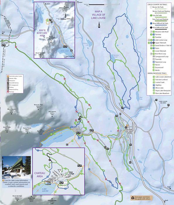 Cross Country Ski Trails - Village of Lake Louise - Map | Ski hills ...