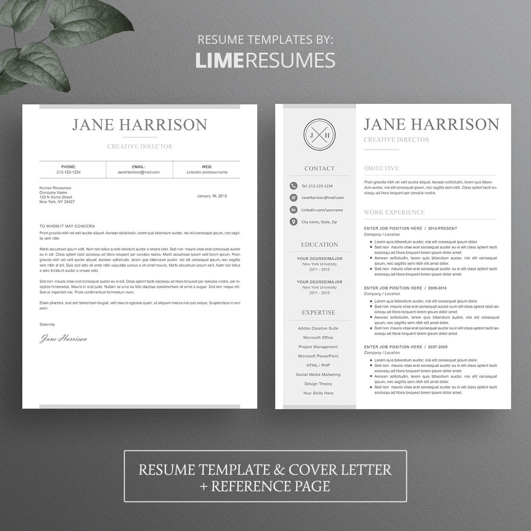 Microsoft Word Resume Template, Cover