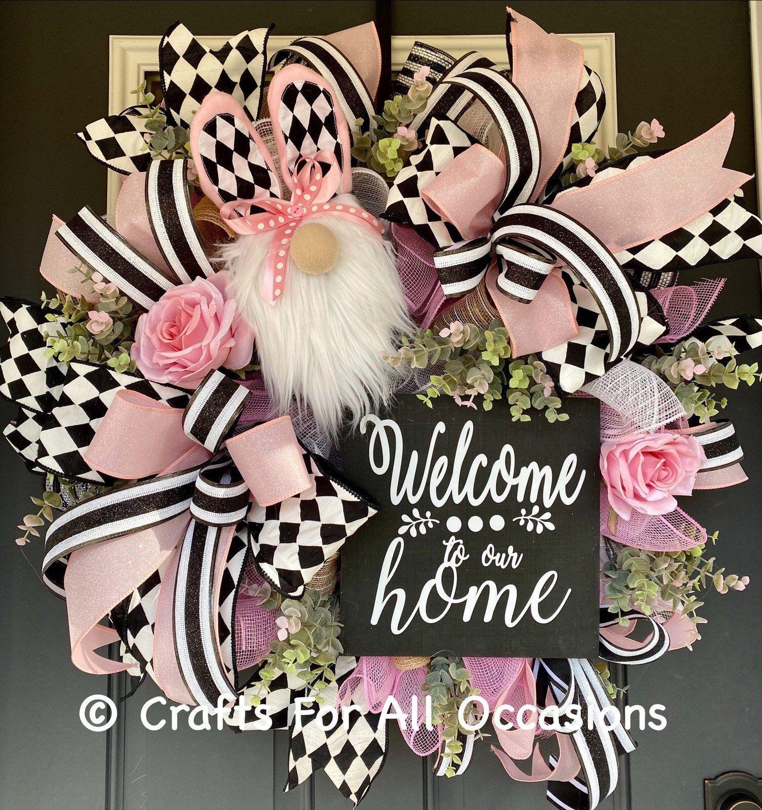 Photo of Spring wreath, Easter wreath, spring decor, gnome decor, gnome wreath.