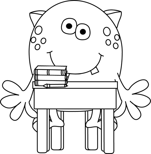 Black And White Monster In School Clip Art Black And White Monster In School Image Monster Coloring Pages Coloring Books Clip Art Borders