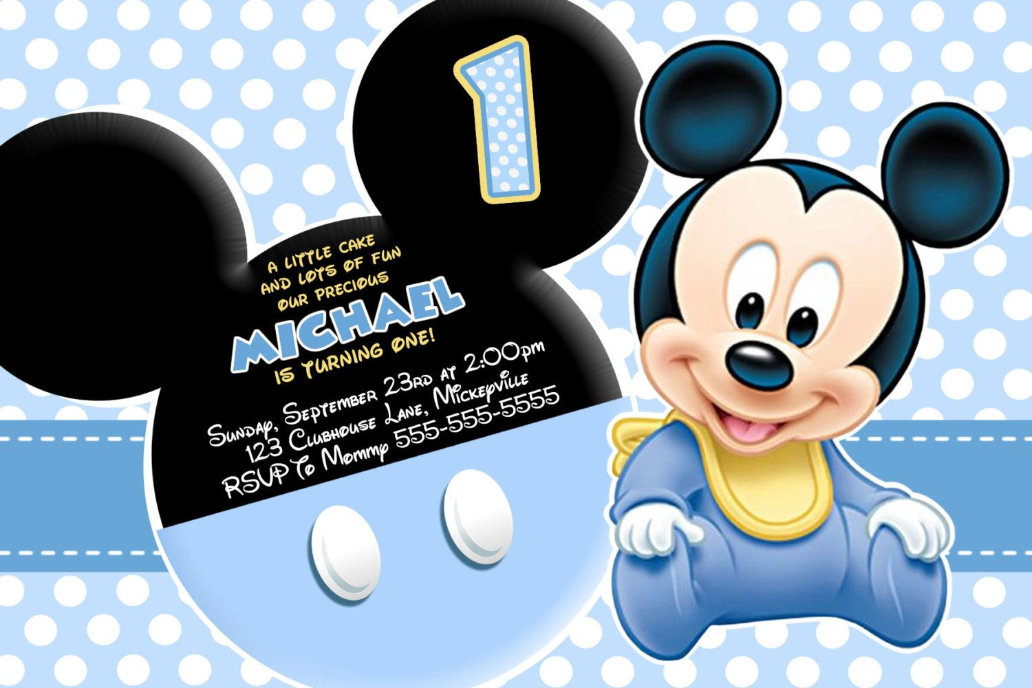 Huge Selection Baby Mickey Mouse Invitation Blue Yellow Black