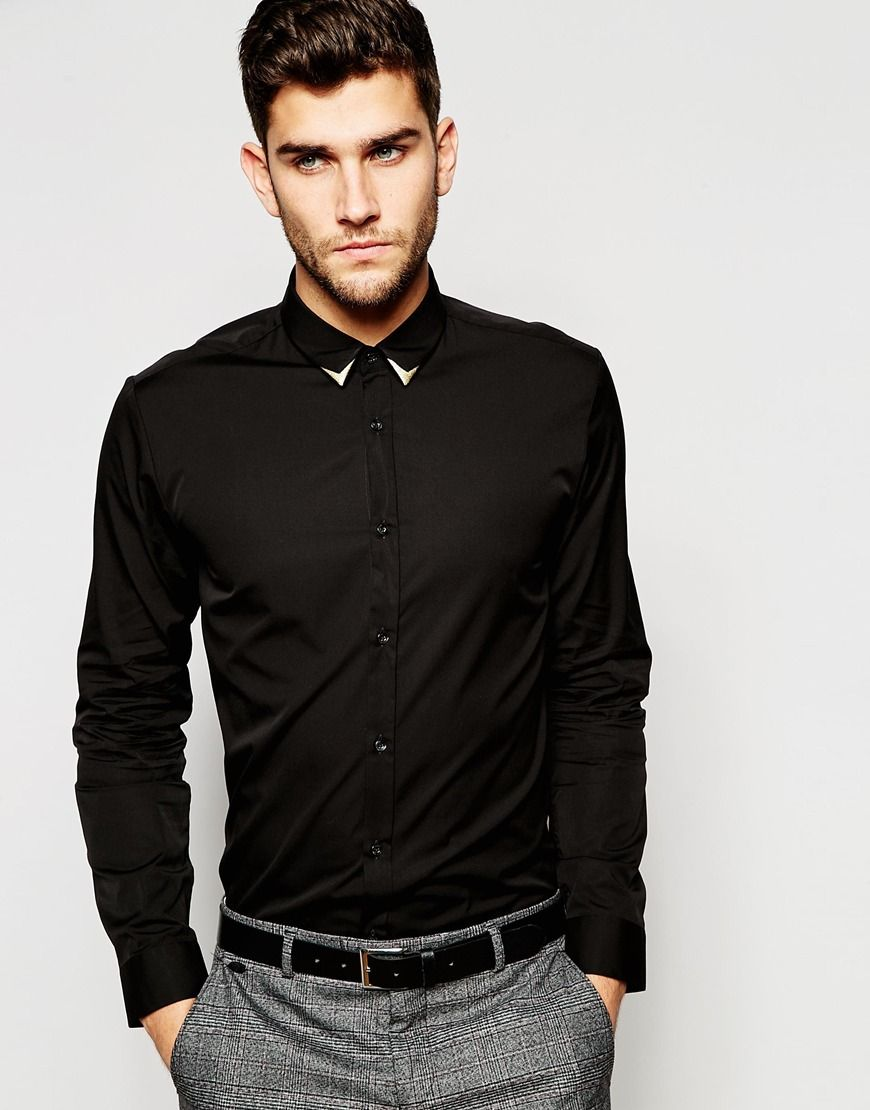 ded293c6b Hugo by Hugo Boss Smart Shirt in Slim Stretch Cotton and Contrast Tip Collar