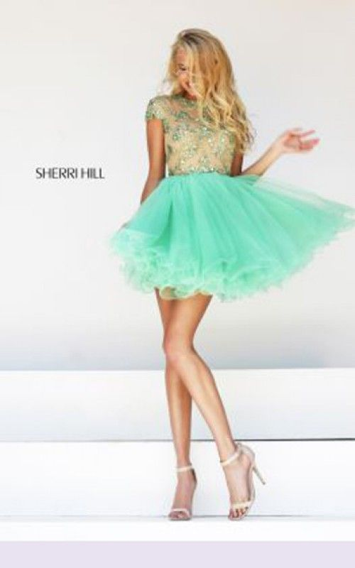 Cheap Nude/Lime Beaded Sherri Hill 21304 Short Tulle A-Line Cocktail Dresses