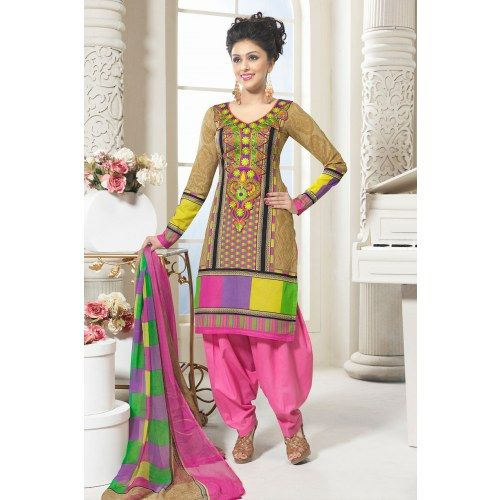 Multi Colour Yoke and Resham Embroidered Cotton Salwar Kameez - Cotton Silk Sarees by Admyrin
