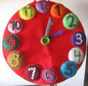 Reloj de fieltro ideal para que los ni os aprendan los - Manualidades relojes infantiles ...