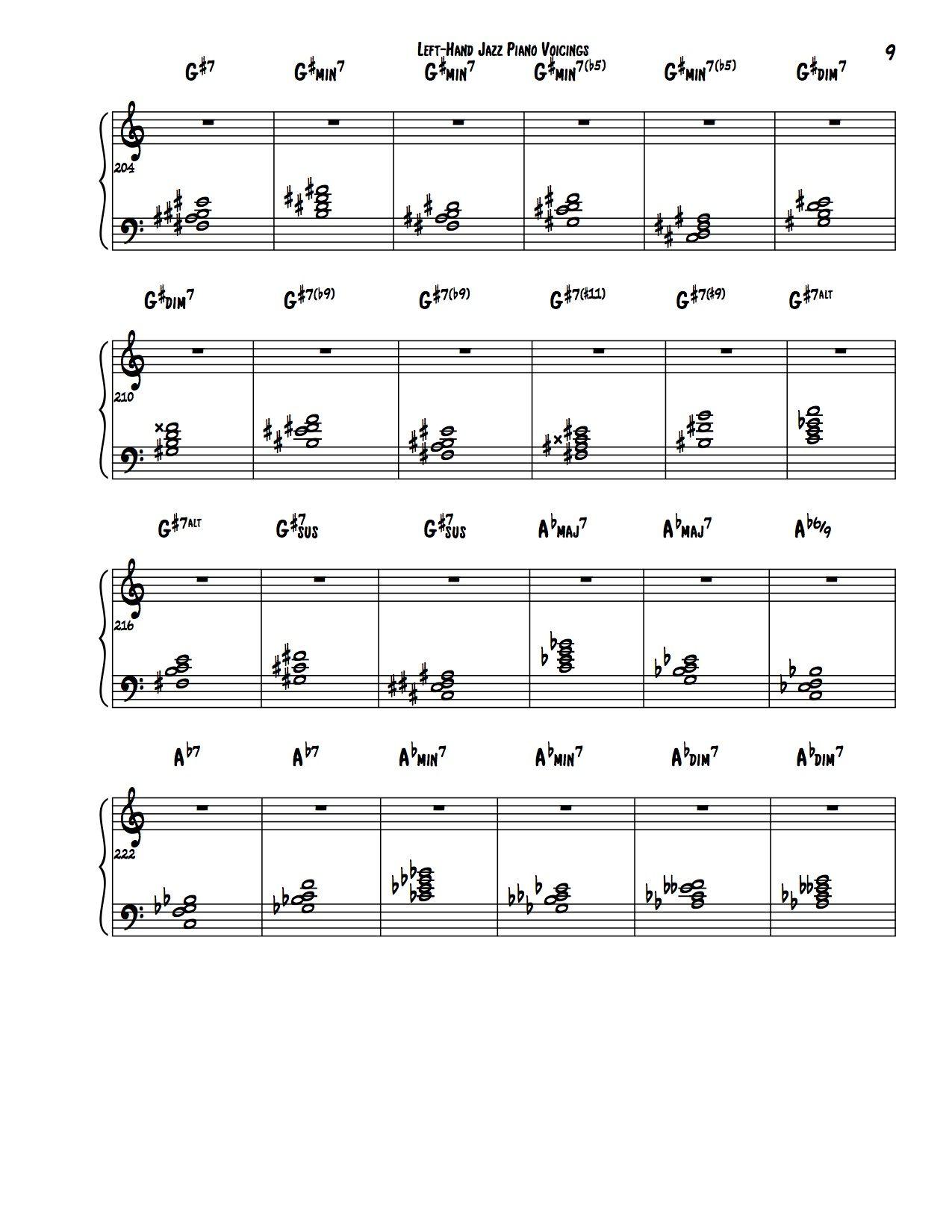 Encyclopedia Of Left Hand Jazz Piano Voicings Jazz Piano Jazz