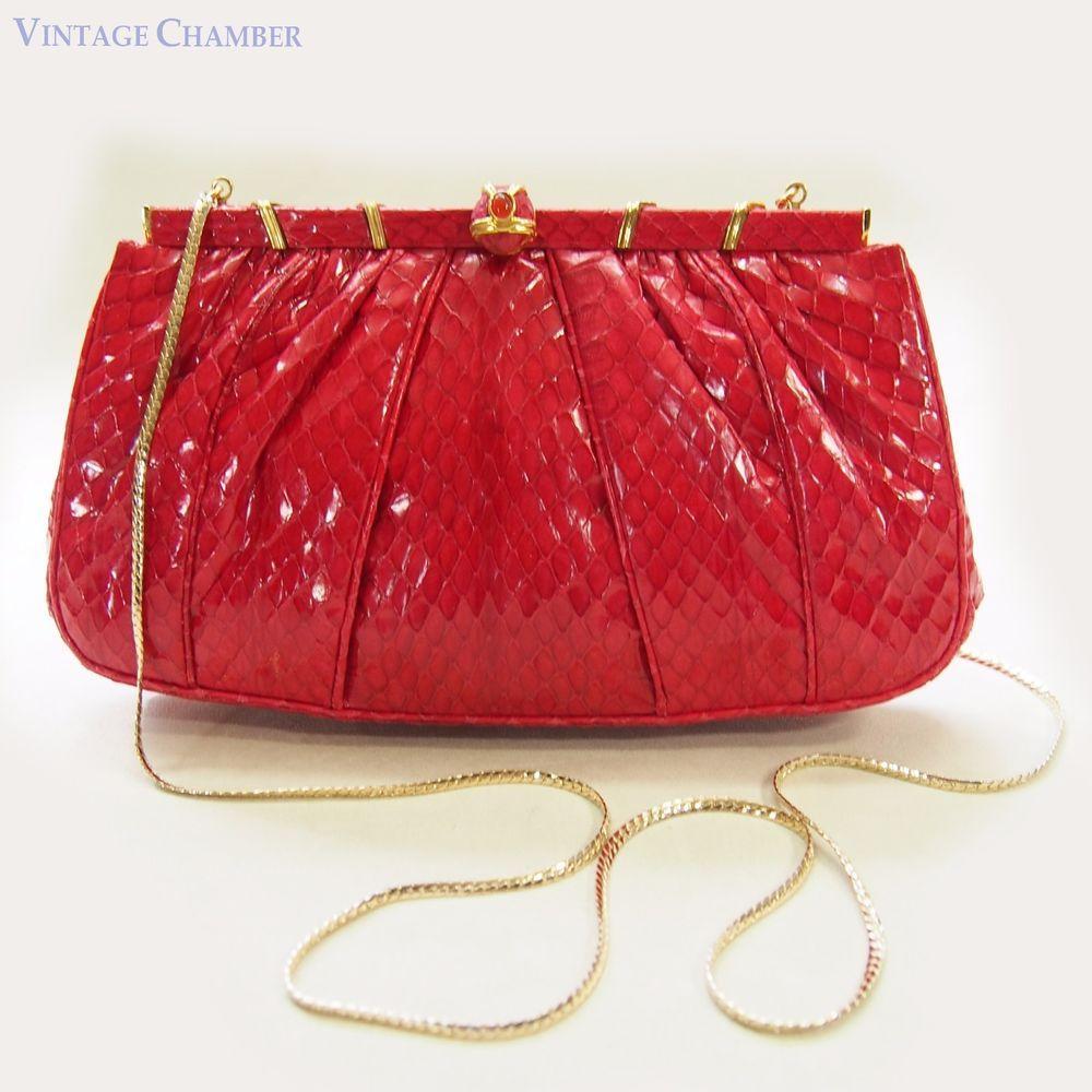 Judith Leiber 1980s Judith Leiber Red Quilted Lambskin Bag N94KJ