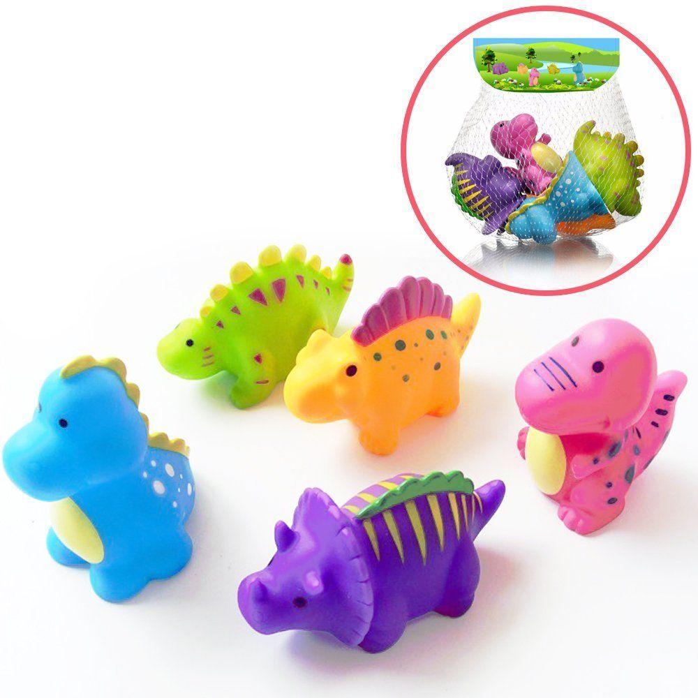 Set of 5 Dinosaur Water Bath Toy, Squirt Floating Bathtub Rubber ...