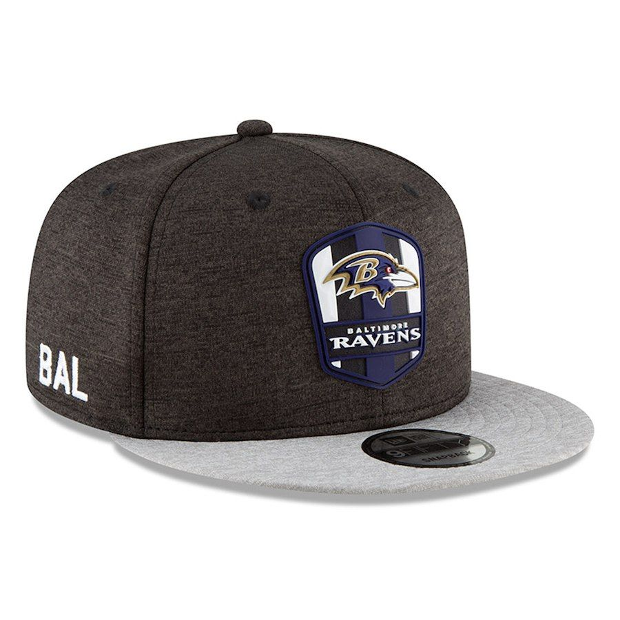 Men s Baltimore Ravens New Era Black Heather Gray 2018 NFL Sideline Road  Official 9FIFTY Snapback Adjustable Hat b735f8f04