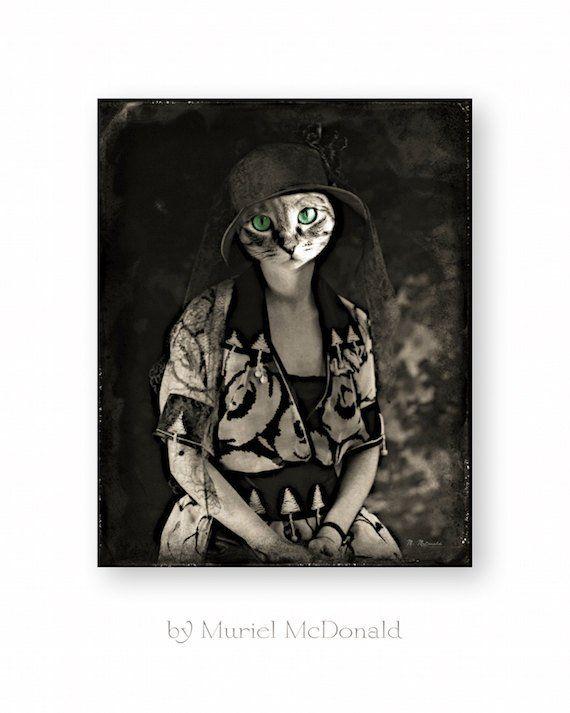 Cat Art Print Animal Art Anthropomorphic Animals In