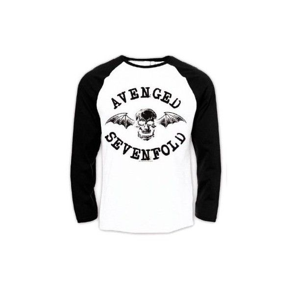 Official T Shirt AVENGED SEVENFOLD BaseBall Raglan CLASSIC Logo A7X L ❤ liked on Polyvore featuring tops, avenged sevenfold, logo tops, raglan top, baseball top и raglan sleeve top