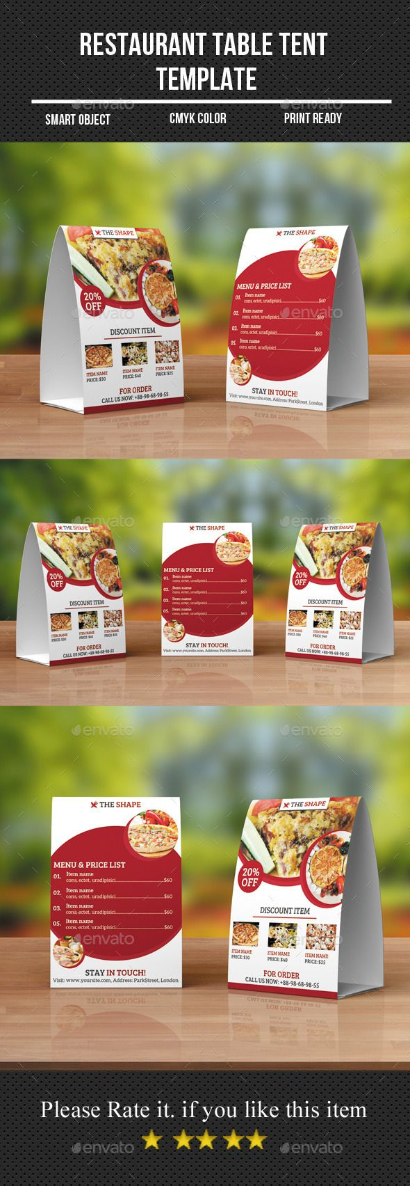 Restaurant Table Tent Template  Table Tents Menu Templates And