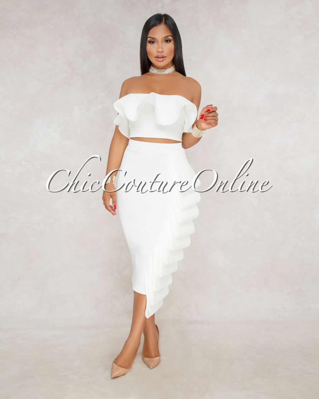 14d3d088849eca Chic Couture Online - Tyra Off White Ruffle Top and Midi Skirt Set, (http