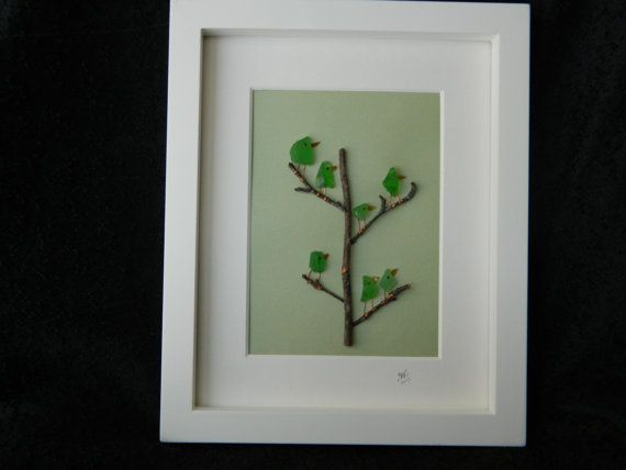 Family Tree of Green Sea Glass Birds in a 8\