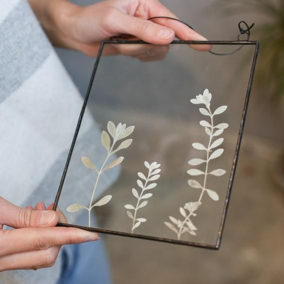 Framed dried wildflowers, stained glass rectangle panel, botanical pressed plant, floral floating fr
