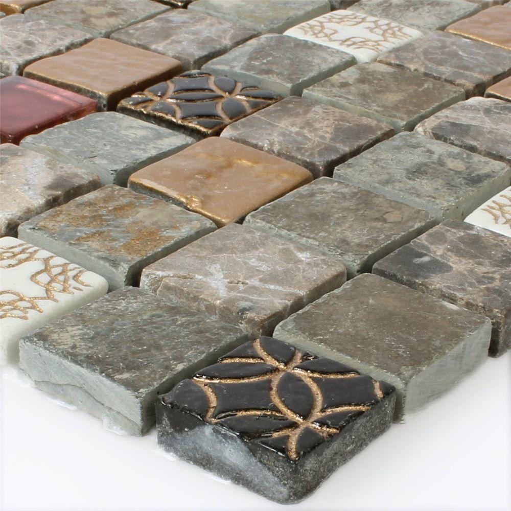 Glas Naturstein Mosaik Fliesen Mix 23x23x8mm 1 Matte