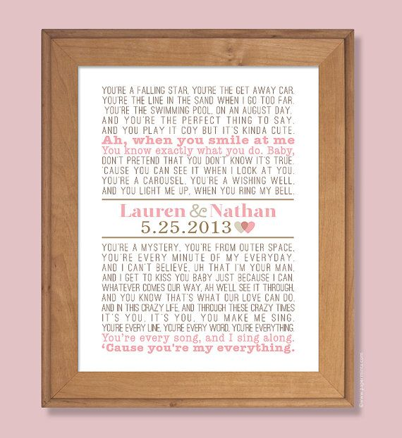 Modern Wedding Ceremony Songs: Personalized Wedding Gift, First Dance Song, 11x14 Modern
