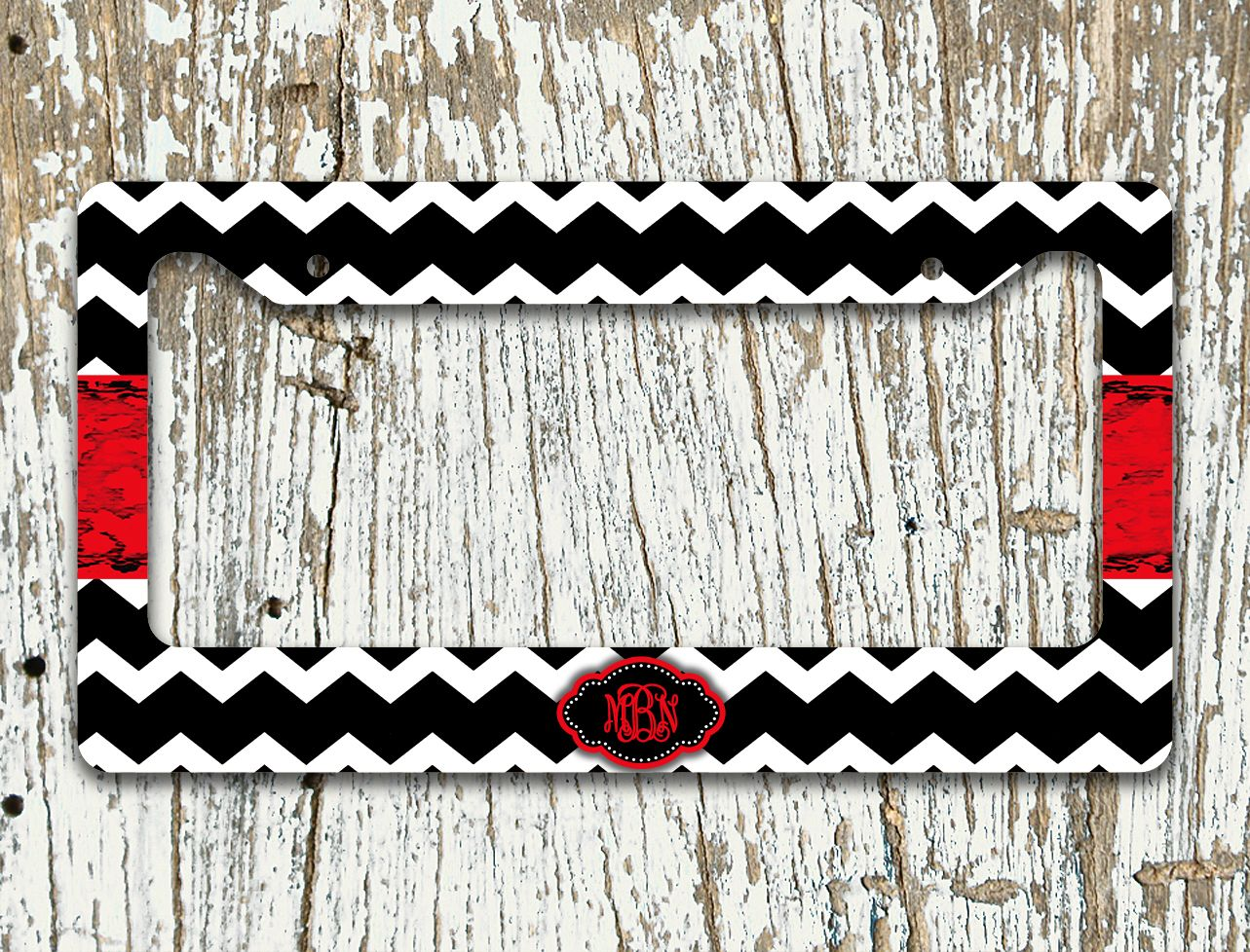 Cute license plate or frame, Monogram Car accessory, Chevron car tag ...