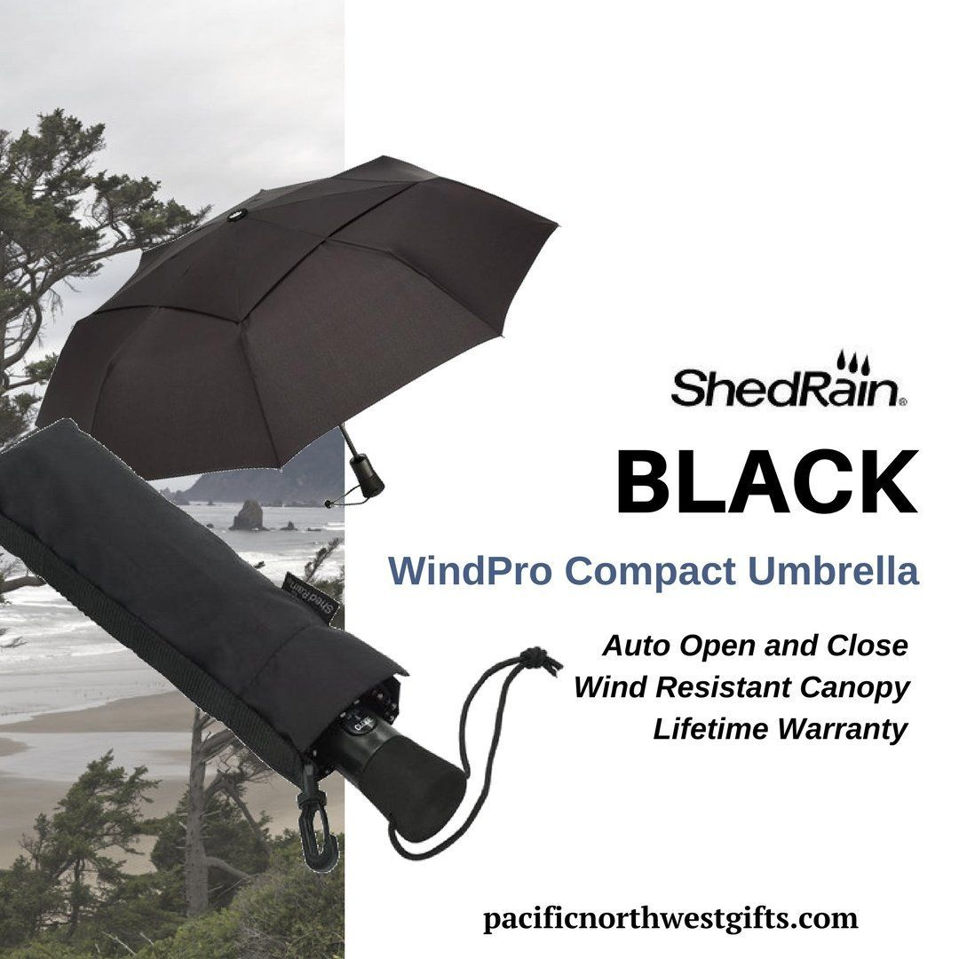 654d943f3 ShedRain WindPro Compact Umbrella in Black. The WindPro Compact Auto Open  and Close Umbrella in Black closes to less than a foot in size, ...