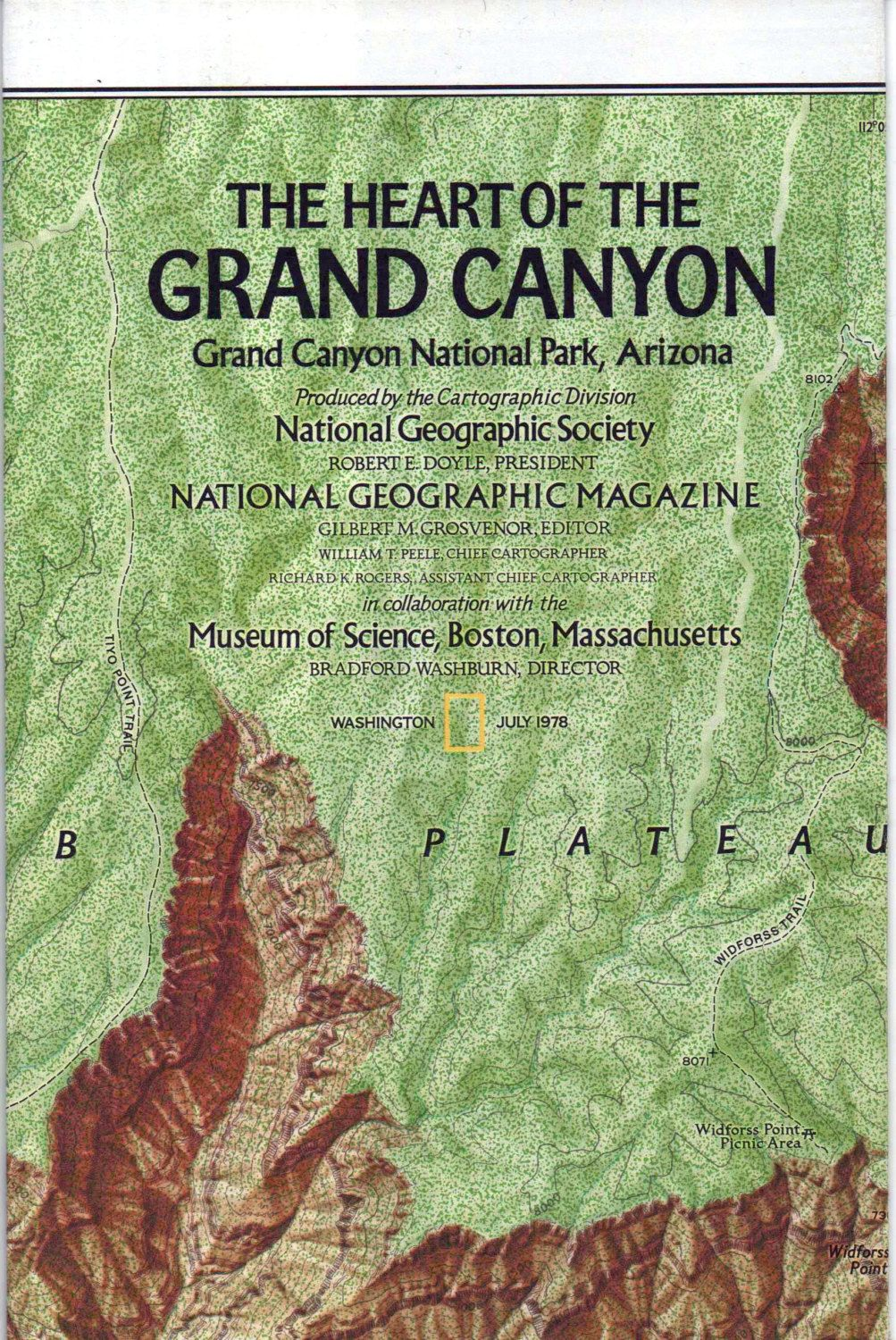 National geographic map poster the heart of the grand canyon national geographic map poster the heart of the grand canyon 1978 great shape by vintagenejunk on etsy gumiabroncs Images