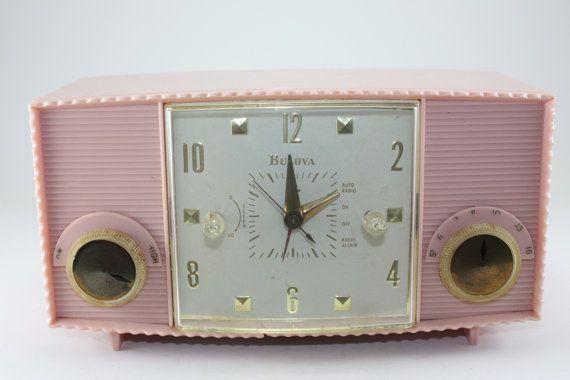 Vintage Pink Radio Bulova by cybersenora on Etsy, $49.00