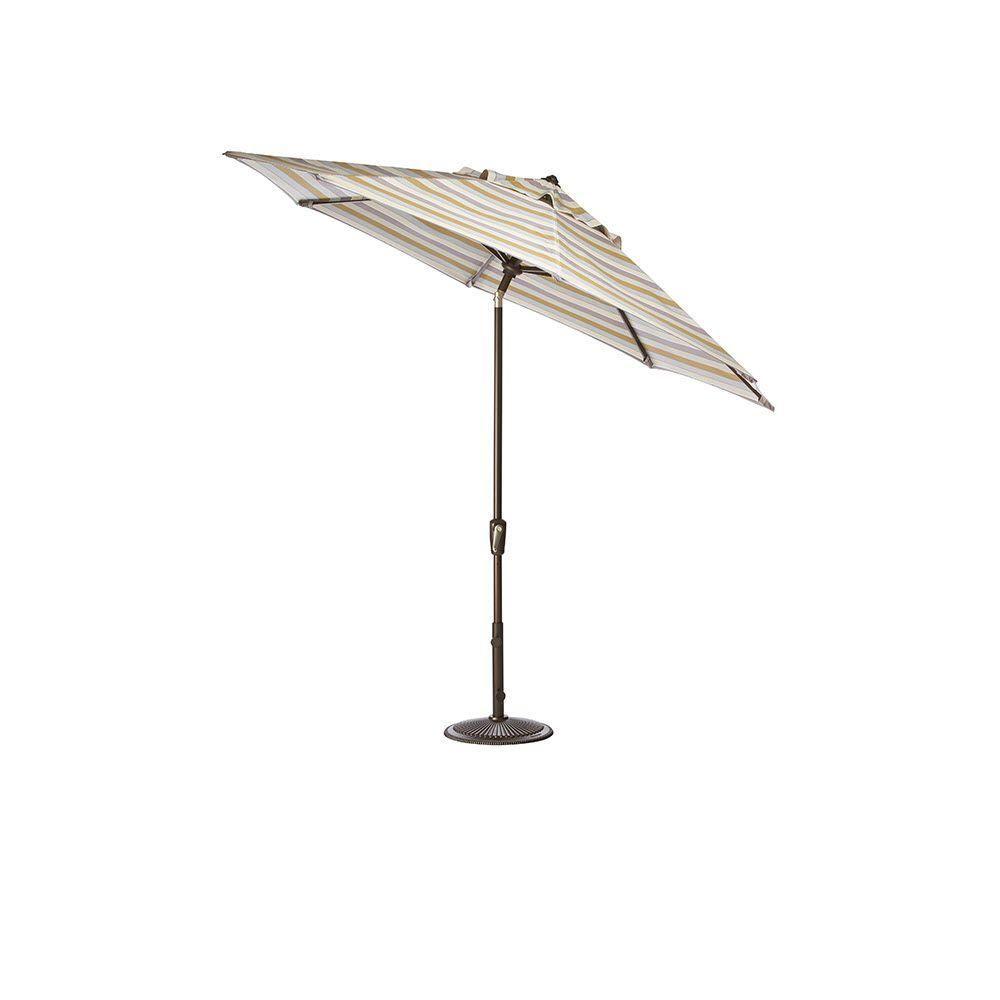 Home Decorators Collection 6.5 ft. x 10 ft. Auto-Tilt Patio Umbrella in Milano Dawn Sunbrella with Bronze Frame