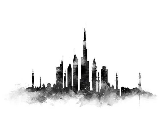 dubai print  dubai skyline  art print  black and white