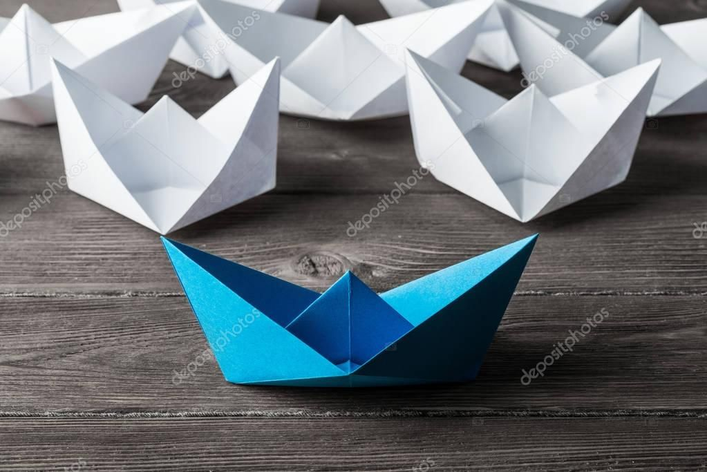 Photo of Set of origami boats on wooden table – Stock Photo , #SPONSORED, #boats, #origam…