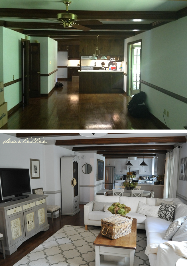 Dear Lillie neutral living room transformation beams