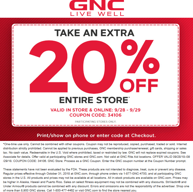 Pinned September 28th 20 Off Everything At Gnc Or Online Via Promo Code 34106 Thecouponsapp Shopping Coupons Coupon Apps Gnc