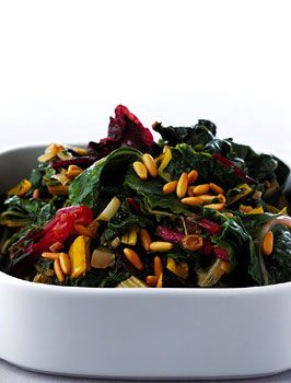 Swiss chard with raisins and pine nuts! To make cleanse friendly, go a bit light on the olive oil.