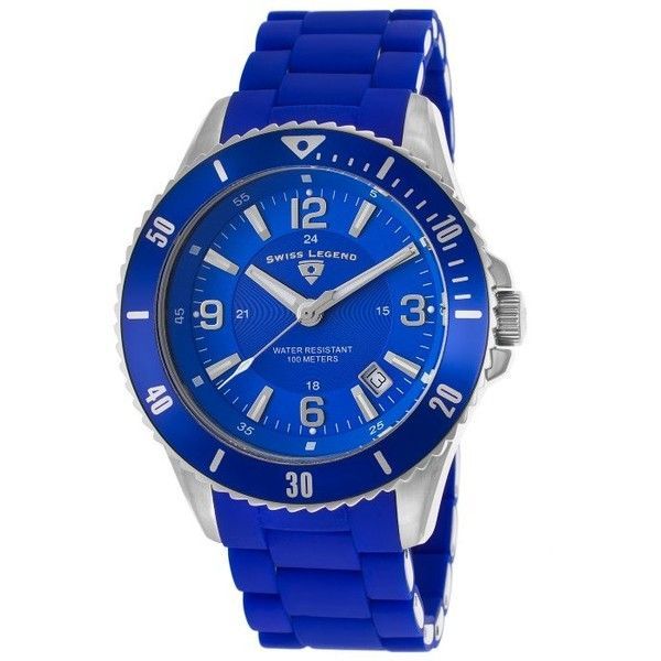 Swiss Legend Luminoso Blue Silicone, Dial and Bezel ($75) ❤ liked on Polyvore featuring jewelry, watches, blue, crown bracelet, two tone bracelet, rose bracelet, blue watches and blue bracelet