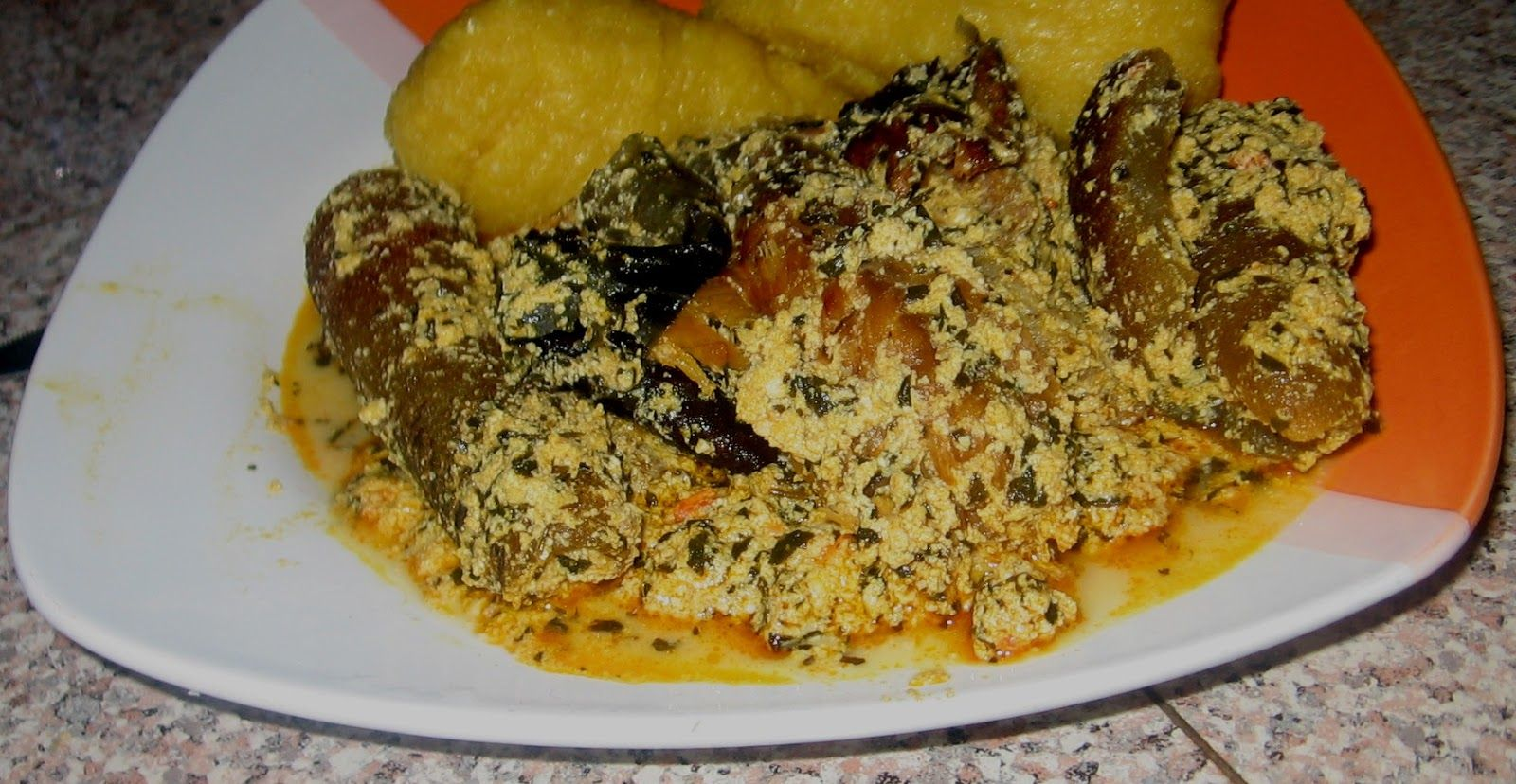 EBA: Eba And Egusi Soup With Fish And Pomo...Eba And Egusi Soup
