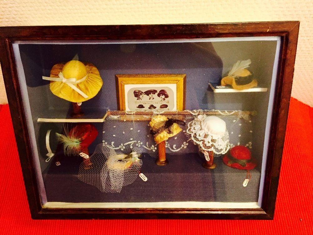 Mini vitrine modiste chapellerie forme a chapeaux millinery