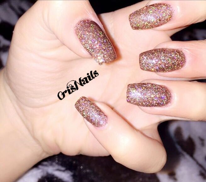 nail nails unghie unghiegel gel ricostruzione glitter bronzo