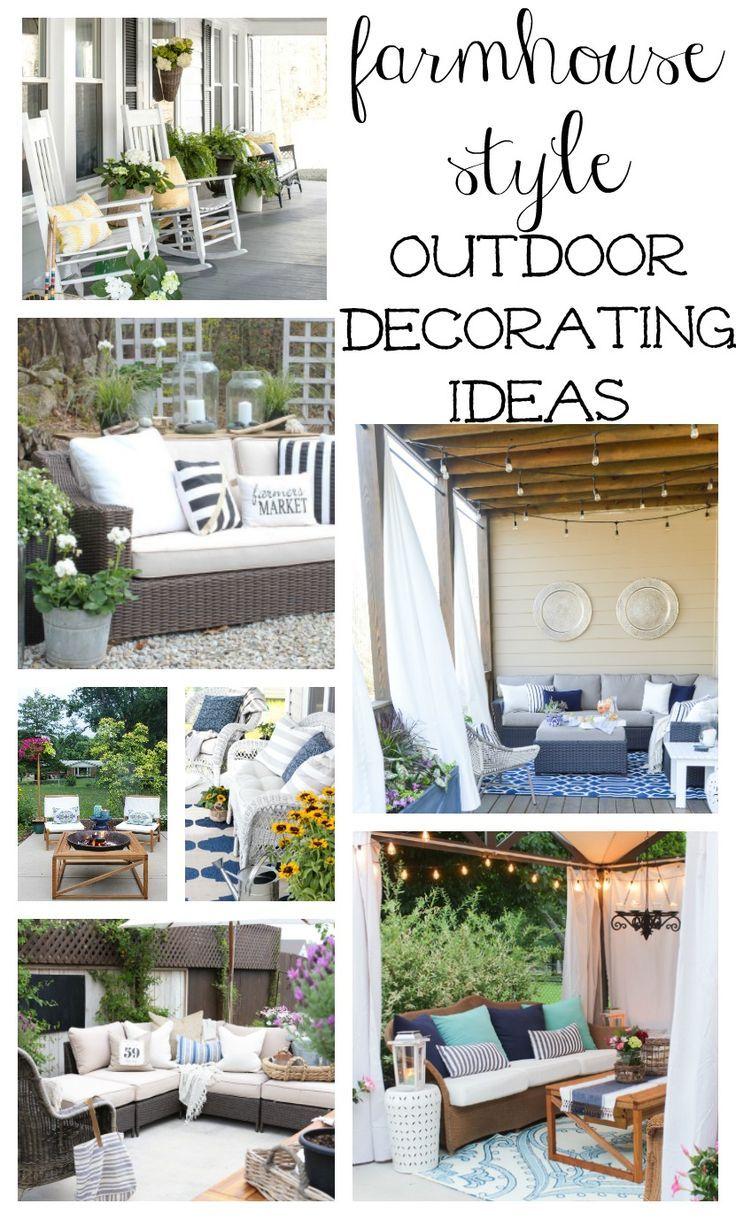 Farmhouse Style Outdoor Decorating Ideas Shopping Guide Farmhouse Outdoor Decor Outdoor Decor Patio Decor