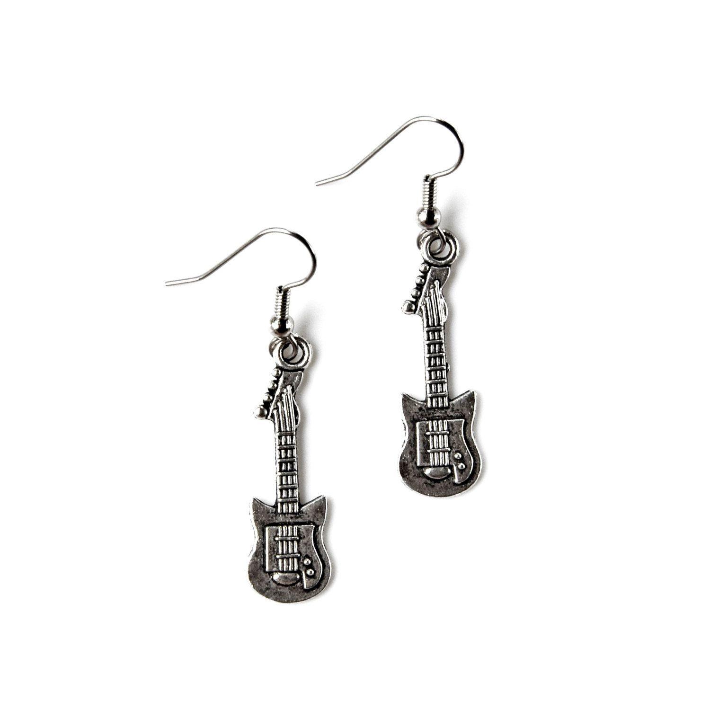Electric guitar earrings loop hook kidney leverback etsy