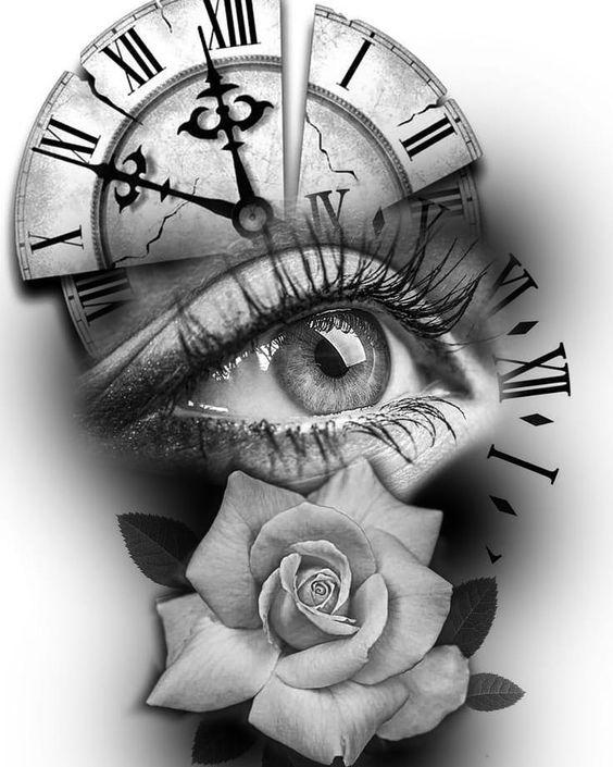 Time And Girl Sanduhr Tattoo Vorlage Uhr