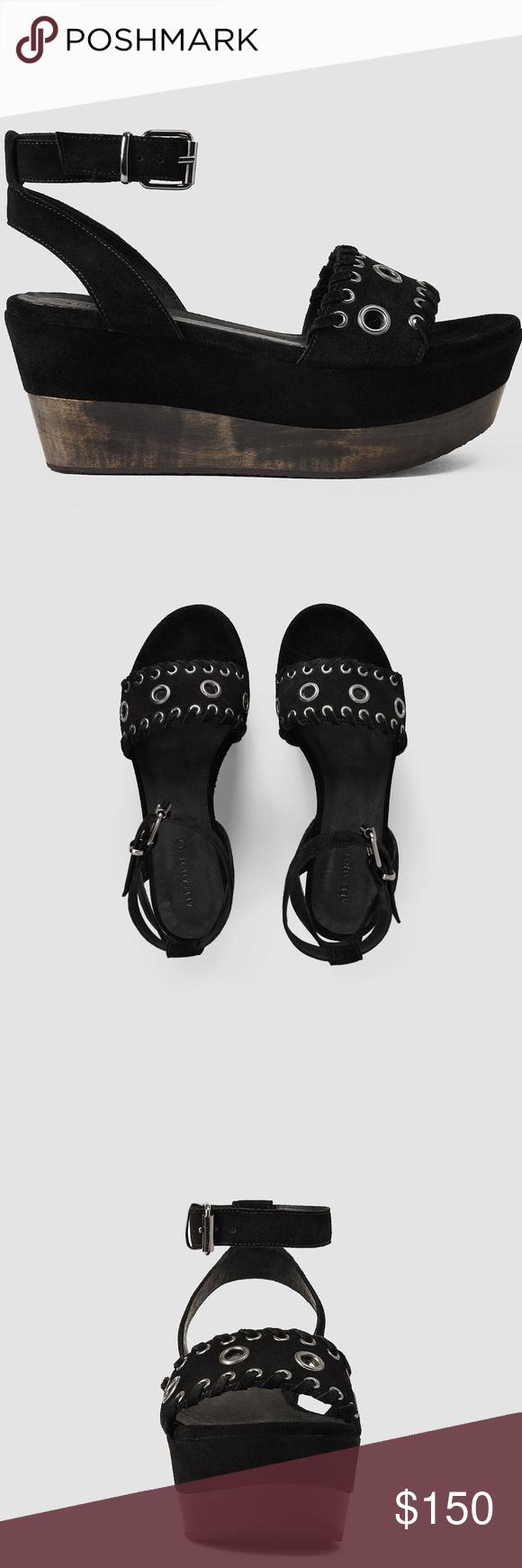AllSaints Yuki Black Suede Platform Hardware Shoes Shoes