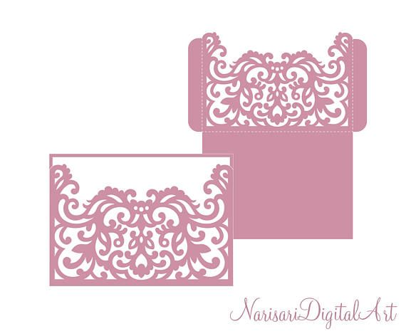 Wedding Invitation Pocket Fold Envelope 5X7, Svg Template, Die Cut