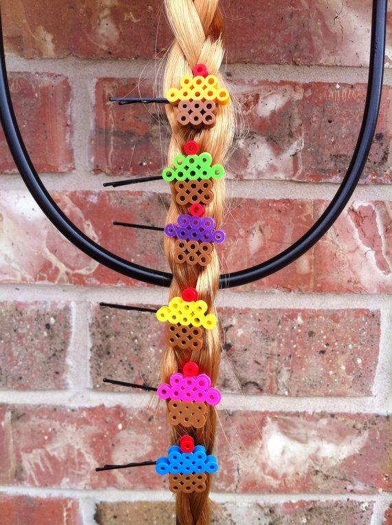 Fun little cupcake hair pins made from Perler Beads 1 by PumpiKins, $2.00