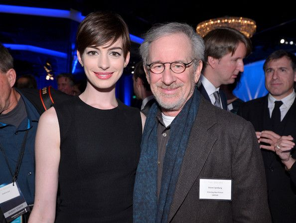Anne Hathaway and director Steven Spielberg attend the 85th Academy Awards Nominations Luncheon at The Beverly Hilton Hotel on February 4, 2013 in Beverly Hills, California.