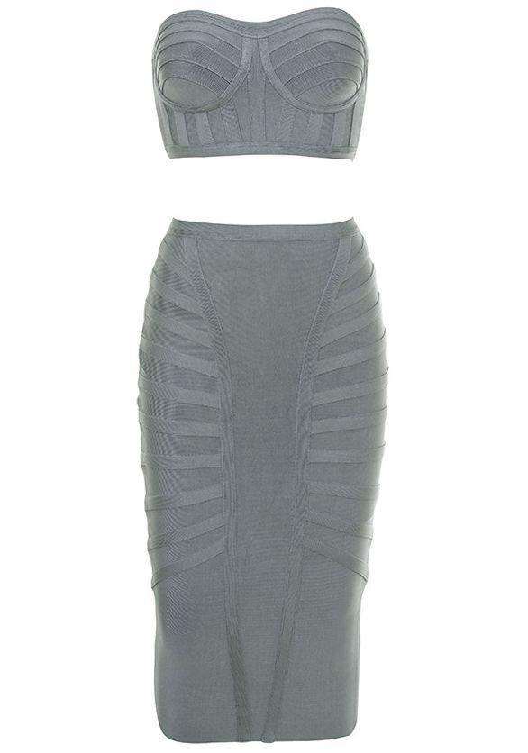 eceef0fb6bec Dream it Wear it - Bandeau Midi Two Piece Bandage Dress Grey, $119.08 (http