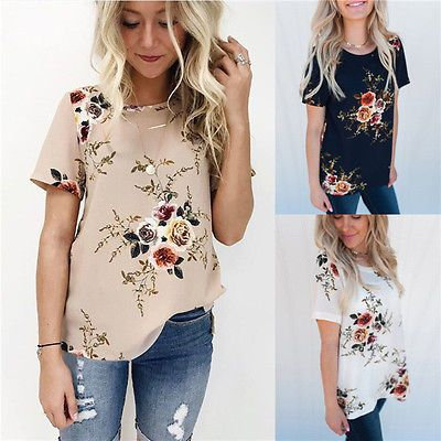 Details about Summer Womens Casual Tops Blouse Short Sleeve Crew Neck Floral T-Shirt Ladies #chiffonshorts