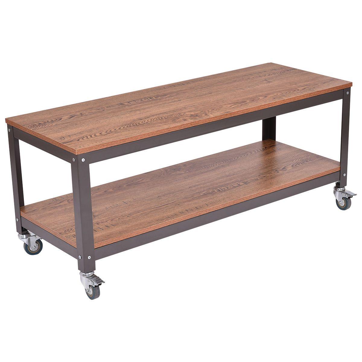 - 2 Tiers Wood Metal Rolling Coffee Table Metal Storage Shelves, Wood  Storage Rack, Furniture
