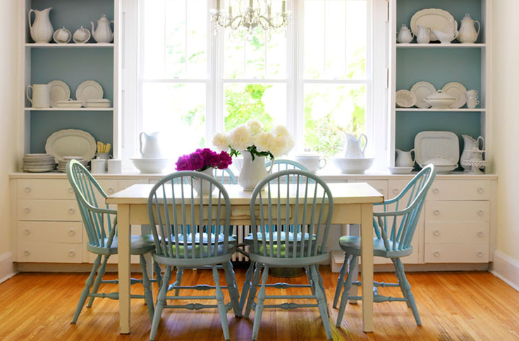 Dining Rooms Built Ins Shelves Cabinets Turquoise Blue Windsor