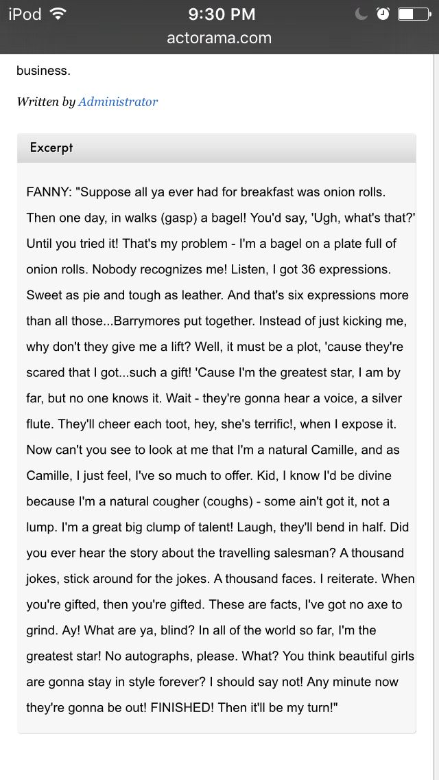 Monologue for females-exert from funny girl SAT\/ACT Pinterest - Musical Theatre Resume