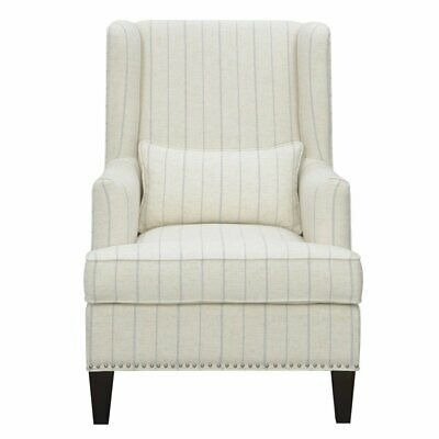 Best Details About Harmon Beige And Blue Stripe Accent Chair 400 x 300