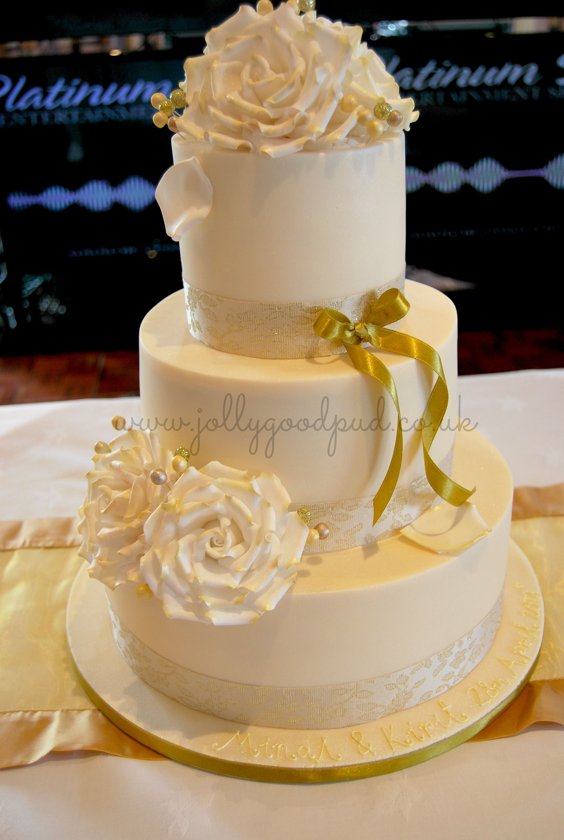 3 tier gold & white rose wedding cake - The Jolly Good Pud Company ...